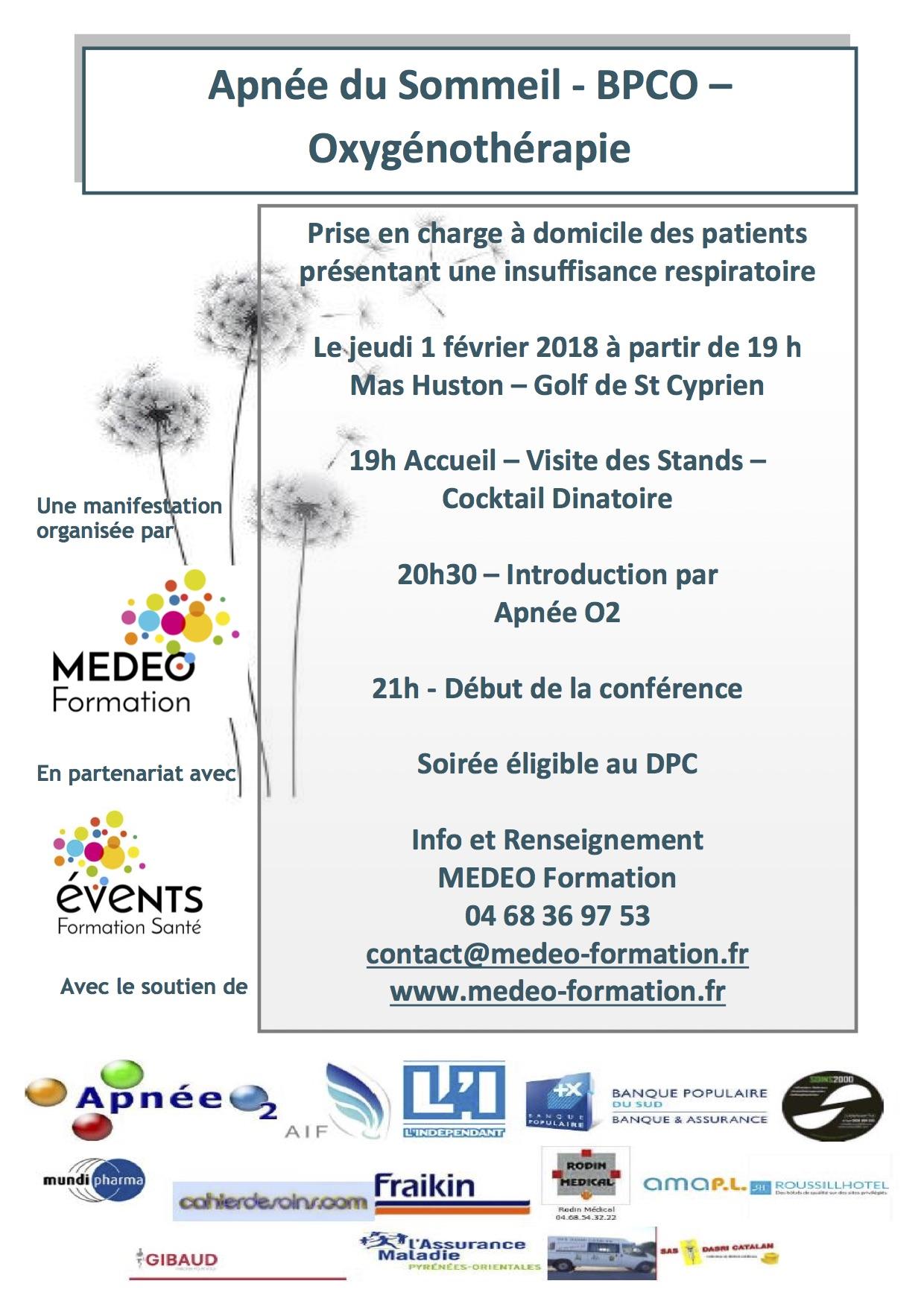 1 Février 2018 – Congrès BPCO – Apnée du Sommeil – Oxygénothérapie